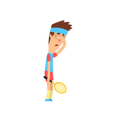 Tired or sad guy holding tennis racket and closing vector