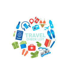 travel check list icons on white background vector image
