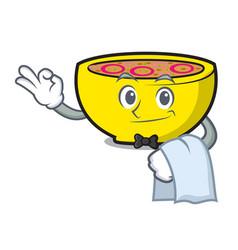 waiter soup union mascot cartoon vector image