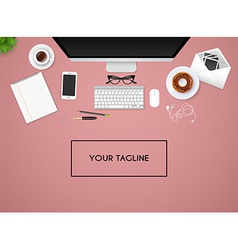 Workplace with isolated objects vector image