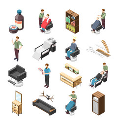 Barbershop isometric icons vector