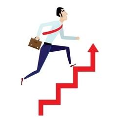 Businessman running up on arrow vector image