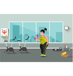 fat woman in the gym vector image vector image