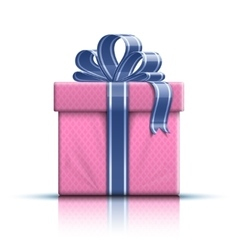 Pink gift box with ribbon and bow vector image vector image