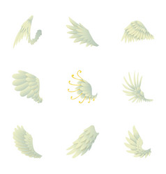 wings of angel icons set cartoon style vector image