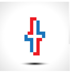 abstract icon based on the letter t vector image