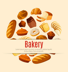 bakery and pastry shop poster with bread and cake vector image