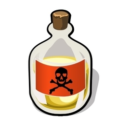 Bottle with label crossbones and yellow substance vector image vector image