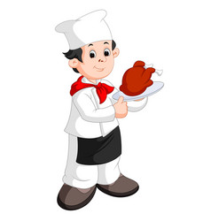 funny cartoon chef with roast vector image
