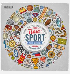 hand drawn set of sport cartoon doodle vector image