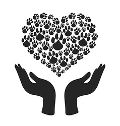 hands hold Heart Paw symbol vector image
