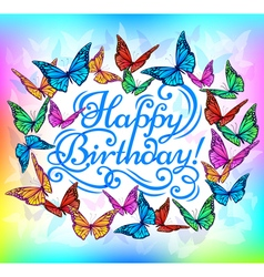 Happy Birthday banner bright butterfly vector image vector image