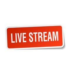 Live stream square sticker on white vector