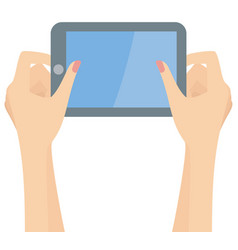 woman hands holding a tablet and playing vector image vector image