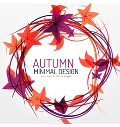 Autumn leaves and lines abstract background vector image