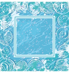 Contour marine seashells and frame vector image vector image