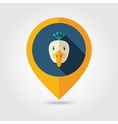 Peacock flat pin map icon Animal head vector image vector image