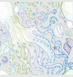 seashell octopus seamless pattern summer holiday vector image vector image