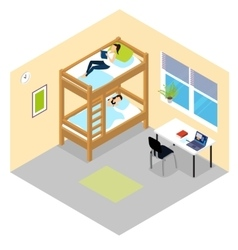 Student Room Isometric Composition vector image vector image