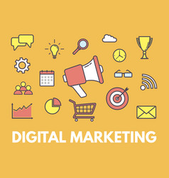 digital marketing concept megaphone with business vector image vector image
