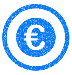 euro coin rounded icon rubber stamp vector image vector image
