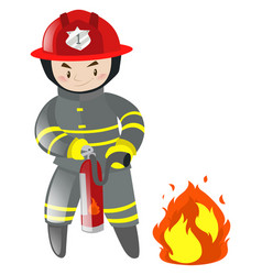 fire fighter with extinguisher vector image