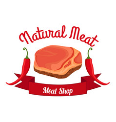 fresh meat pepper label logo farm product flat vector image