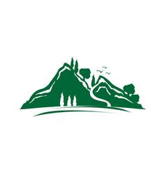 green mountain icon vector image vector image