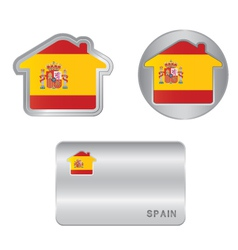 Home icon on the Spain flag vector image vector image