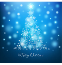 magic christmas tree with snowflakes on blue vector image vector image