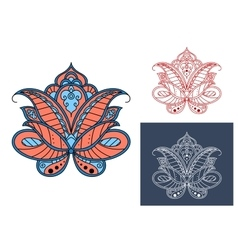 Persian paisley flower with retro ornament vector image vector image