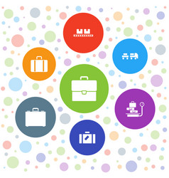 7 luggage icons vector