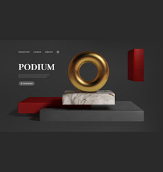 abstract gold torus on luxury mock up stage vector image