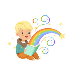 Adorable little boy reading magic book with fairy vector