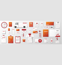 artistic orange corporate identity mock up vector image