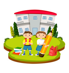 Back to school with students vector
