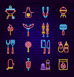 Bbq party neon icons vector