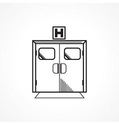 Black line icon for hospital entrance door vector image vector image