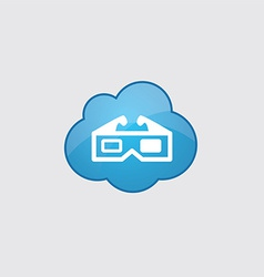 Blue cloud 3d movie icon vector image