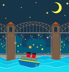 Boat floating under the bridge at night vector
