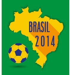 Brazilian map with ball vector