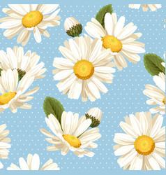 Camomile and polka dot seamless background vector