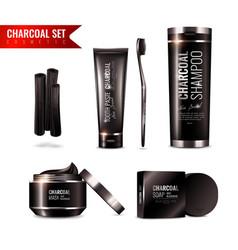 Charcoal cosmetics set vector