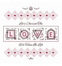 cherish the love greeting card on dotted pattern vector image
