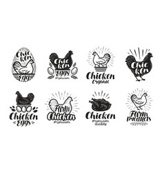 Chicken poultry farm label set food meat egg vector