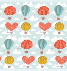 childish cute seamless pattern with hot air vector image