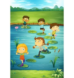 Children stepping on lotus leaves vector