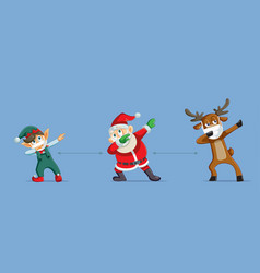 christmas characters social distancing during vector image