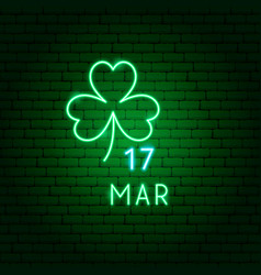clover 17 march neon label vector image