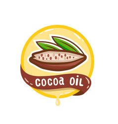 cocoa oil logo natural product emblem vector image